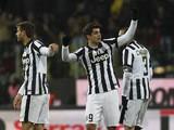 Alvaro Morata of Juventus FC celebrates after scoring the opening goal during the TIM Cup match between Parma FC and Juventus FC at Stadio Ennio Tardini on January 28, 2015