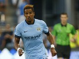 Scott Sinclair #12 of Manchester City drives past the Sporting KC defense late in the firs half on July 23, 2014