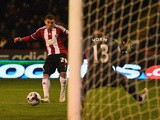 Che Adams of Sheffield United scores his first goal during the Capital One Cup Semi-Final Second Leg match between Sheffield United and Tottenham Hotspur at Bramall Lane on January 28, 2015