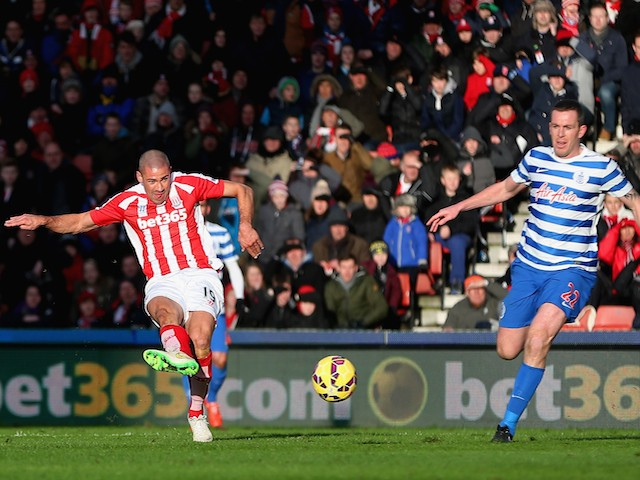 Jonathan Walters of Stoke City scores the opening goal during the Barclays Premier League match against QPR on January 31, 2015