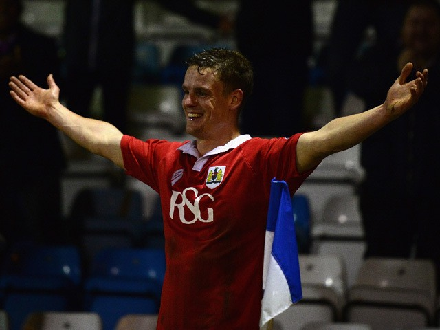 Matt Smith of Bristol City celebrates his goal during the Johnstone's Paint Southern Area Final, first leg match between Gillingham and Bristol City at Priestfield Stadium on January 6, 2015