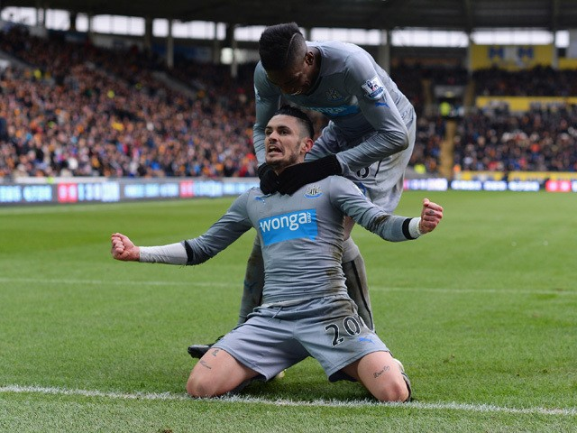Remy Cabella of Newcastle United celebrates scoring the opening goal during the Barclays Premier League match between Hull City and Newcastle United at KC Stadium on January 31, 2015