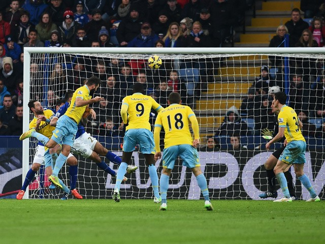 Joe Ledley of Crystal Palace scores from a header during the Barclays Premier League match between Leicester City and Crystal Palace at the King Power Stadium on February 7, 2015