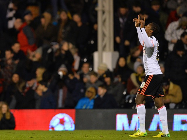 Fulham's Colombian striker Hugo Rodallega celebrates scoring the opening goal of the FA Cup fourth round replay football match between Fulham and Sunderland at Craven Cottage in London on February 3, 2015