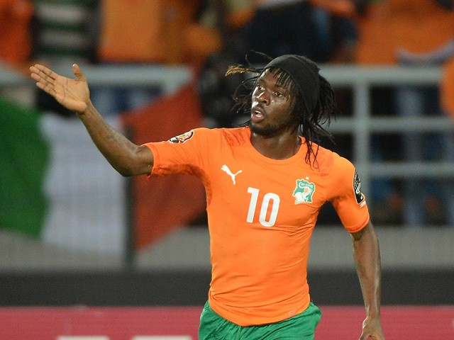 Ivory Coast's forward Gervinho celebrates after scoring his team's second goal during the 2015 African Cup of Nations semi-final football match between Democratic Republic of the Congo and Ivory Coast in Bata on February 4, 2015