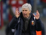 Genoa CFC head coach Gian Piero Gasperini gestures during the Serie A match between SS Lazio and Genoa CFC at Stadio Olimpico on February 9, 2015
