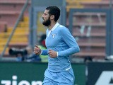 Antonio Candreva of SS Lazio celebrates after scoring his team's opening goal from the penalty spot during the Serie A match between Udinese Calcio and SS Lazio at Stadio Friuli on February 15, 2015