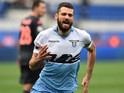 Lazio's midfielder Antonio Candreva celebrates his goal during the Italian Serie A football match between Lazio Rome and Palermo on February 22, 2015