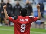 Carlos Bacca celebrates scoring for Sevilla on February 22, 2015