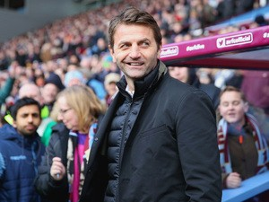 Manager Tim Sherwood of Aston Villa looks on during the Barclays Premier League match between Aston Villa and Stoke City at Villa Park on February 21, 2015