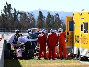 Fernando Alonso is transferred to hospital after crashing during testing on February 22, 2015