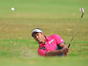 S.S.P Chawrasia of India plays a shot during the third round of the Hero India Open Golf at Delhi Golf Club on February 21, 2015