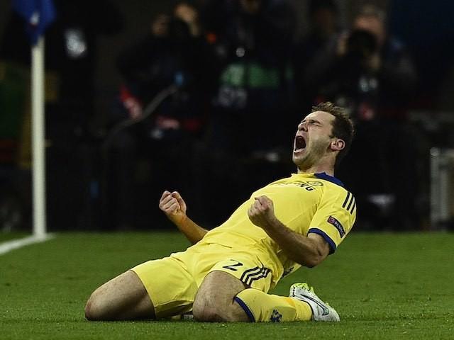 Branislav Ivanovic celebrates scoring Chelsea's opener against PSG on February 17, 2015