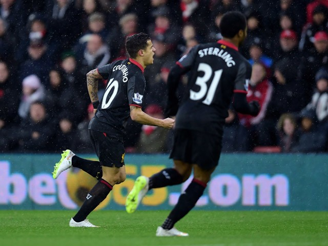 Philippe Coutinho of Liverpool celebrates after scoring the opening goal during the Barclays Premier League match between Southampton and Liverpool at St Mary's Stadium on February 22, 2015