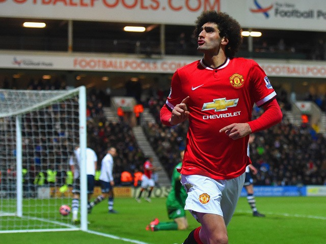 Marouane Fellaini of Manchester United celebrates scoring their second goal during the FA Cup Fifth round match between Preston North End and Manchester United at Deepdale on February 16, 2015