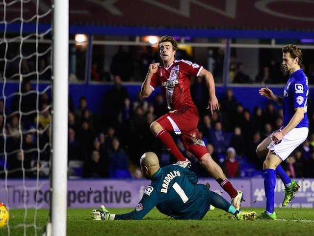 Middlesbrough striker Patrick Bamford scores the equaliser during the Sky Bet Championship match against Birmingham City on February 18, 2015