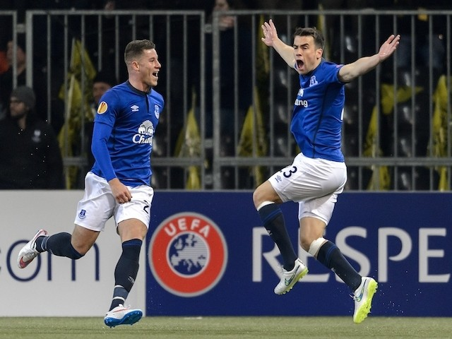 Everton's Irish defender Seamas Coleman (R) celebrates the team's second goal next to teammate English midfielder Ross Barkley during the EUFA Europa League football match against Young Boys on February 19, 2015