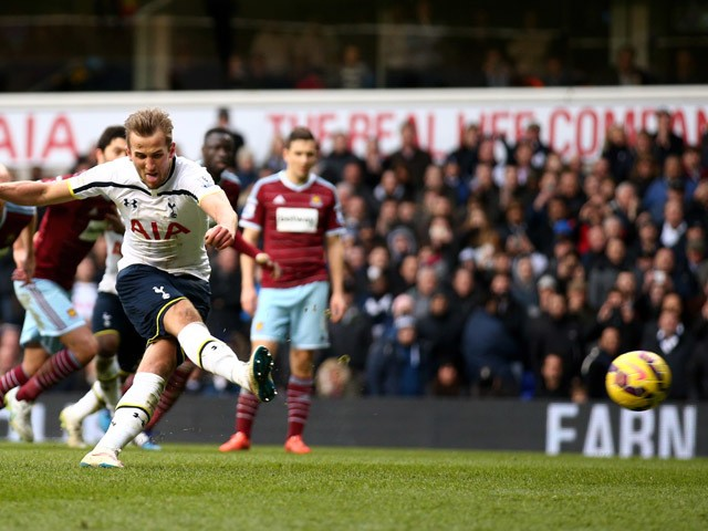 Harry Kane of Spurs takes an injury time penalty which is saved during the Barclays Premier League match between Tottenham Hotspur and West Ham United at White Hart Lane on February 22, 2015