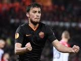 Roma's Serbian forward Adem Ljajic celebrates after scoring during the UEFA Europa League round of 32 match Feyenoord vs AS Roma in Rotterdam on February 26, 2015