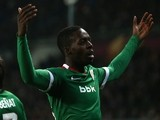 Athletic Bilbao's Spanish forward Inaki Williams celebrates after scoring during the UEFA Europe League round of 32 football match Torino Vs Athletic Bilbao on February 19, 2015