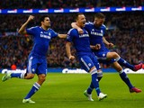 John Terry of Chelsea (C) celebrates scoring the opening goal with Diego Costa and Gary Cahill of Chelsea during the Capital One Cup Final match against Tottenham on March 1, 2015