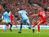 Jordan Henderson of Liverpool scores the opening goal during the Barclays Premier League match between Liverpool and Manchester City at Anfield on March 1, 2015