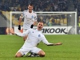 Lukasz Teodorczyk of Dynamo Kiev celebrates after scoring a goal during the UEFA Europa League, Round of 32 football match FC Dynamo Kiev vs Guingamp in Kiev on February 26, 2015
