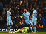 Vincent Kompany of Manchester City appeals as Referee Dr. Felix Brych shows Gael Clichy of Manchester City a red card during the UEFA Champions League Round of 16 match between Manchester City and Barcelona at Etihad Stadium on February 24, 2015