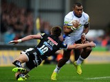 Semesa Rokoduguni of Bath takes on Henry Slade of Exeter Chiefs during the Aviva Premiership match between Exeter Chiefs and Bath Rugby at Sandy Park on February 28, 2015