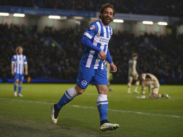 Inigo Calderon of Brighton & Hove celebrates after scoring a goal during the Sky Bet Championship match between Brighton & Hove Albion and Leeds United at Amex Stadium on February 24, 2015