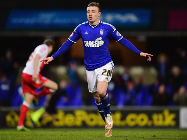Freddie Sears of Ipswich Town celebrates as he scores their second goal during the Sky Bet Championship match between Ipswich Town and Birmingham City at Portman Road on February 24, 2015