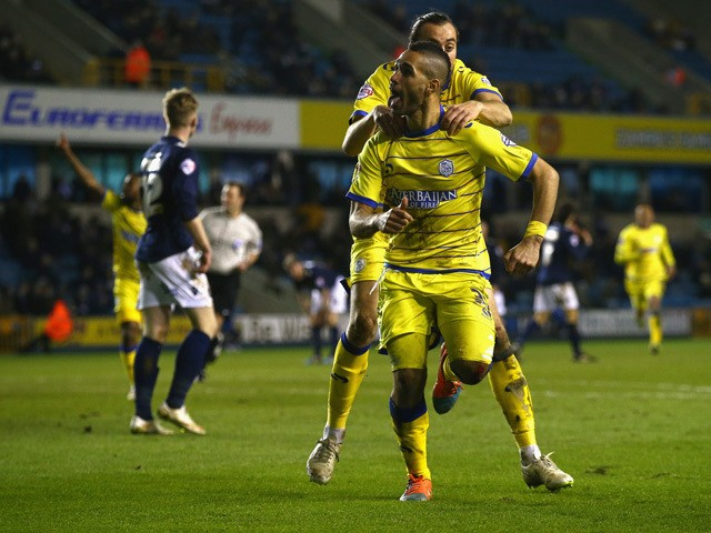Lewis McGugan of Sheffield Wednesday celebrates his goal during the Sky Bet Championship match between Millwall and Sheffield Wednesday at The Den on February 24, 2015