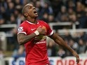 Manchester United's English midfielder Ashley Young celebrates scoring the opening goal of the English Premier League football match against Newcsastle on March 4, 2015
