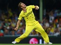 Shane Watson of Australia celebrates taking the wicket of Angelo Mathews of Sri Lanka during the 2015 ICC Cricket World Cup match between Australia and Sri Lanka at Sydney Cricket Ground on March 8, 2015