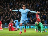 David Silva of Manchester City celebrates after scoring the opening goal during the Barclays Premier League match against Leicester City on  March 4, 2015