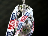 The trophy is displayed during the Sky Bet Championship match between Burnley and Leicester City at Turf Moor on March 29, 2014