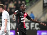 Rennes' French forward Paul-Georges Ntep dances as he celebrates after scoring a goal during the French L1 football match between Rennes and Metz on March 7, 2015