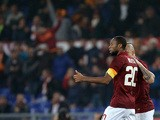 AS Roma's Malian midfielder Seydou Keita celebrates after scoring a goal during the Italian Serie A football match between AS Roma and Juventus at the Olympic Stadium in Rome on March 2, 2015
