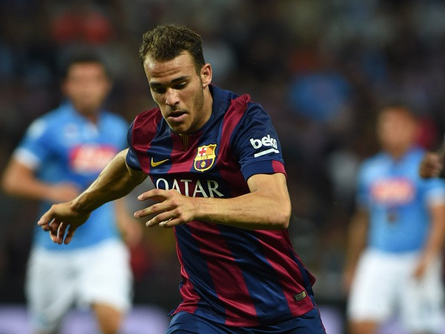 Sandro Ramirez of FC Barcelona in action during the pre-season friendly match between FC Barcelona and SSC Napoli on August 6, 2014