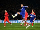 Eden Hazard of Chelsea celebrates after scoring his team's second goal from the