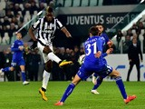 Juventus' midfielder from France Paul Pogba kicks and scores a goal during their Serie A football match Juventus vs Sassuolo at 'Juventus Stadium' in Turin on March 09, 2015