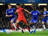 Javier Pastore of PSG is closed down by Nemanja Matic of Chelsea and Ramires of Chelsea during the UEFA Champions League Round of 16, second leg match between Chelsea and Paris Saint-Germain at Stamford Bridge on March 11, 2015
