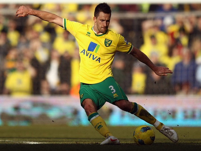 Adam Drury of Norwich City in action during the Barclays Premier League match between Norwich City and Manchester United at Carrow Road on February 26, 2012