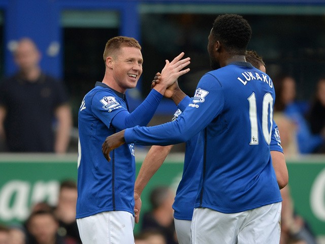 James McCarthy of Everton celebrates scoring the opening goal with Romelu Lukaku of Everton during the Barclays Premier League match between Everton and Newcastle United at Goodison Park on March 15, 2015