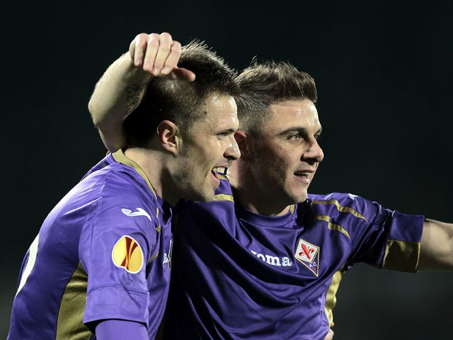 Josip Ilicic of ACF Fiorentina celebrates after scoring a goal during the UEFA Europa League Round of 16 match between ACF Fiorentina and AS Roma on March 12, 2015