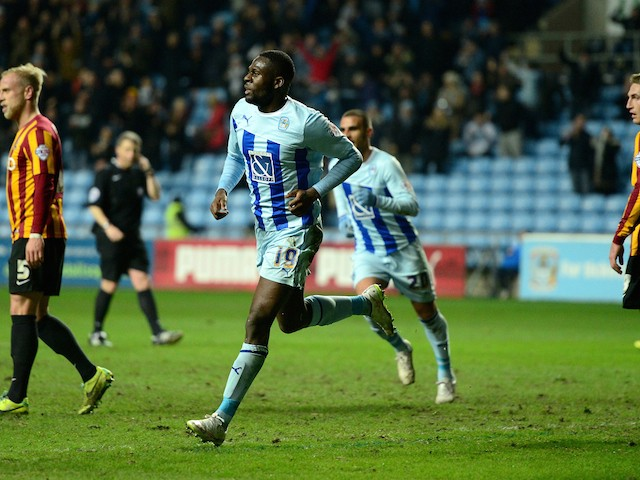 Frank Nouble of Coventry City celebrates his goal during the Sky Bet League One match between Coventry City and Bradford City at Ricoh Arena on March 10, 2015