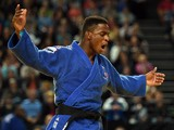 France's Loic Korval reacts at the Judo European Championships during the Men's Team match France vs Ukraine, in Montpellier, southern France, on April 27, 2014