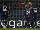Paris Saint-Germain's Swedish forward Zlatan Ibrahimovic celebrates after scoring a penalty during the French L1 football match between Paris Saint-Germain (PSG) and FC Lorient on March 20, 2015