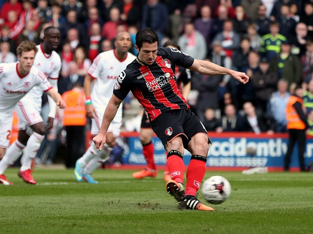 Yann Kermorgant of Bournemouth scores the opening goal of the game from the penalty spot during the Sky Bet Championship match between AFC Bournemouth and Middlesbrough at Goldsands Stadium on March 21, 2015