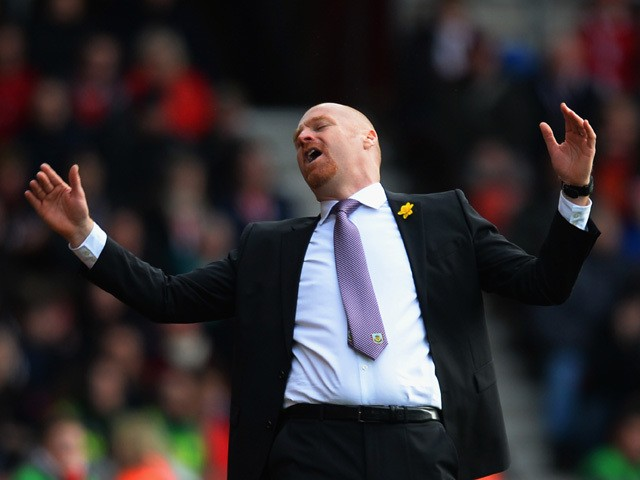 Manager Sean Dyche of Burnley reacts during the Barclays Premier League match between Southampton and Burnley at St Mary's Stadium on March 21, 2015